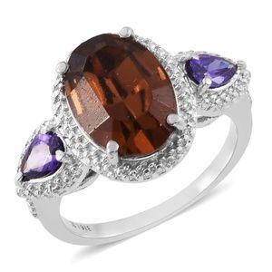Simulated Purple Diamond Stainless Steel Ring